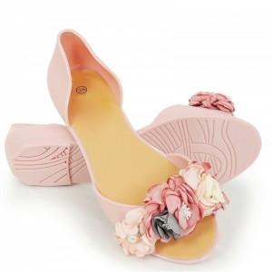 Originální dámské růžové baleríny s otevřenou špičkou a kvítky