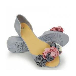 Stylové dámské šedé romantické gumové baleríny s kytičkami