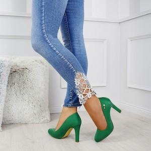 Krásné dámské semišové lodičky v zelené barvě na vysokém podpatku