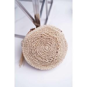 Světle béžová dámská pletená kabelka s koženým řemínkem