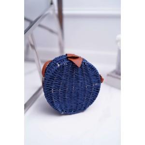 Kvalitní dámská pletená kabelka v modré barvě
