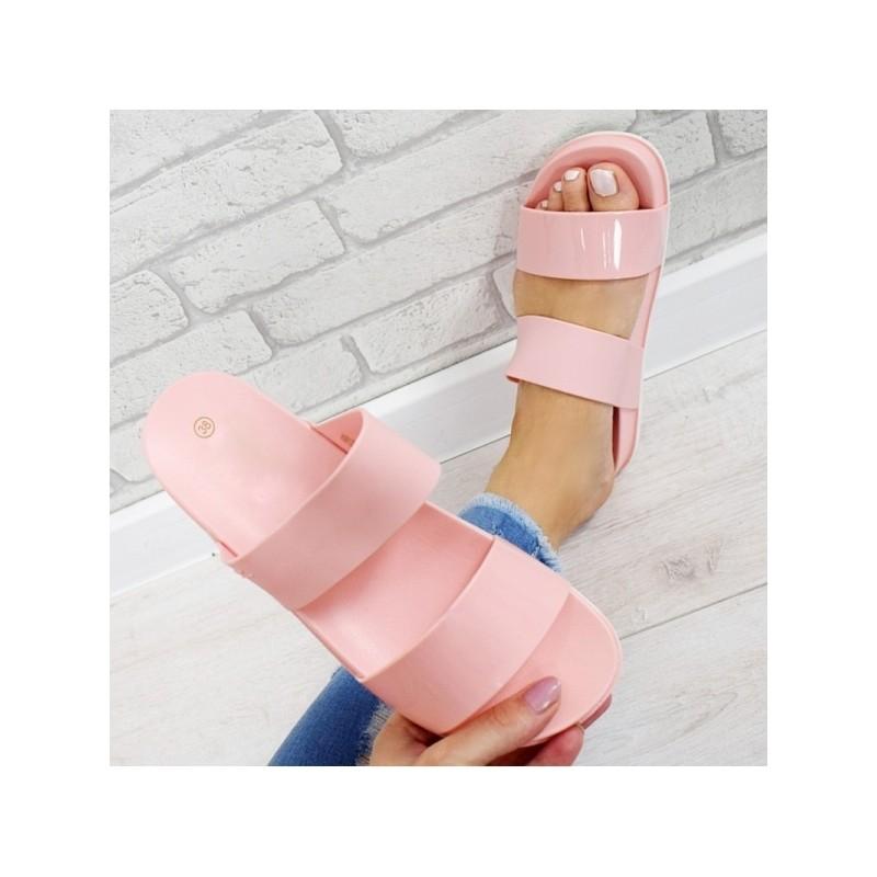 1eff7896bcb6 Světle růžové dámské gumové pantofle s dvěma pruhy a platformě