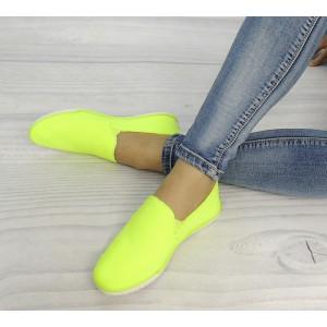 Moderní neonově žluté dámské slip on tenisky