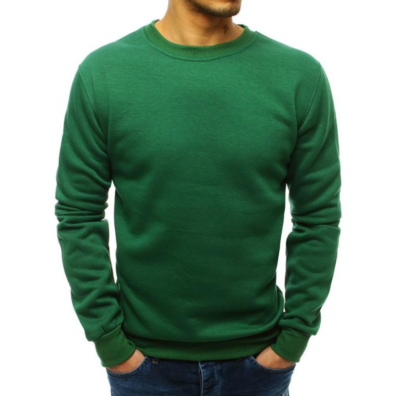 0696ab8f2c90 Jednoduchá pánská zelená mikina bez kapuce