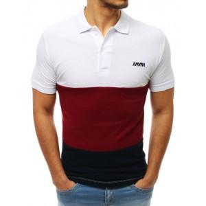 Polo tričko pánske v bielej farbe so zapínaním na gombíky