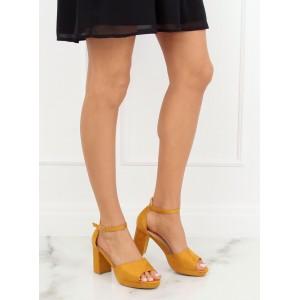 Krásné žluté semišové sandály na módním tlustém podpatku