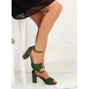 Dámské smaragdově zelené semišové sandály na módním podpatku