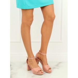 Pudrově růžové dámské sandály s volnou špičkou a na vysokém podpatku