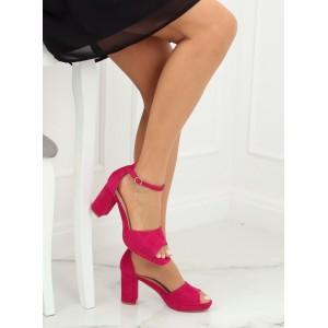Stylové dámské semišové sandály ve fuchsiové barvě na podpatku