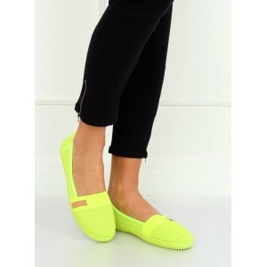 Trendy dámské neonově žluté plátěné balerínky