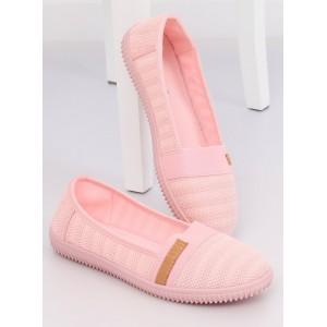 Letní světle růžové dámské plátěné baleríny