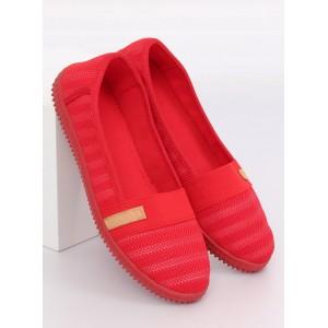 Dámské červené balerínky plátěnky