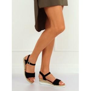 Černé semišové sandály na léto na platformě s pletencem