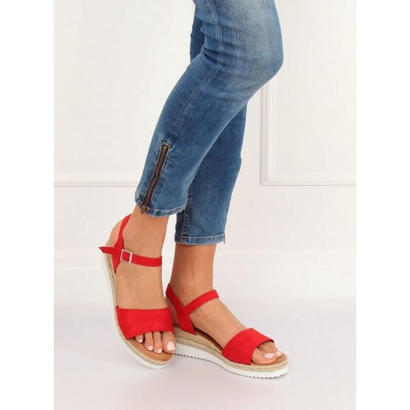 89d0a88cdf1b3 Pohodlné dámské letní červené sandály na nízké platformě