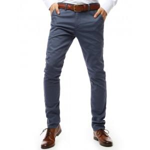 Originální šedě modré pánské kalhoty zúženého střihu