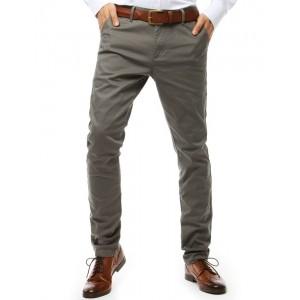 Moderní pánské tmavě šedé dlouhé kalhoty