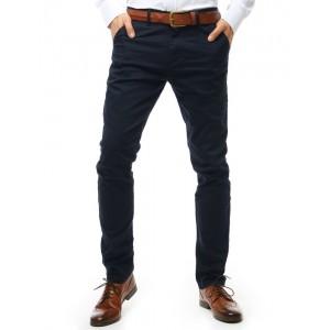 Stylové pánské tmavě modré kalhoty s kapsami v přední i zadní části