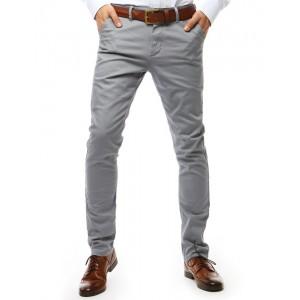 Elegantní pánské světle šedé kalhoty mírně zúženého střihu
