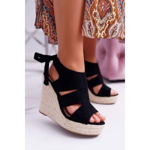 Elegantní dámské černé semišové sandály s vázáním na mašli