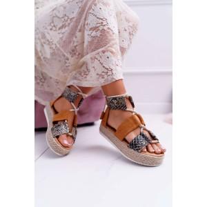 Luxusní dámské sandály s hadím vzorem a na pletencový platformě