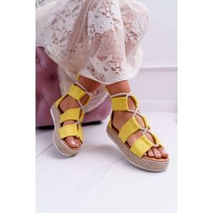 Stylové dámské žluté sandály na platformě se zadním zipem a šňůrkou