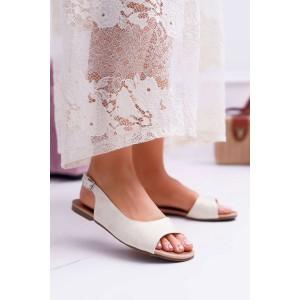 Elegantní dámské sandály v světle zlaté barvě s módním vykrojením