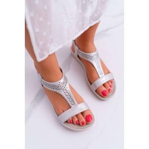 Krásné stříbrné dámské nasouvací sandály na nízké plaftormy