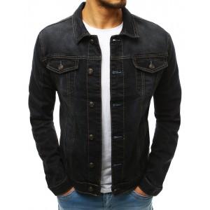 Pánská riflová bunda na knoflíky v černé barvě