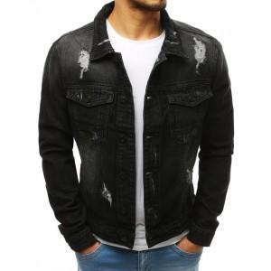 Pánská riflová bunda v černé barvě s kapsami