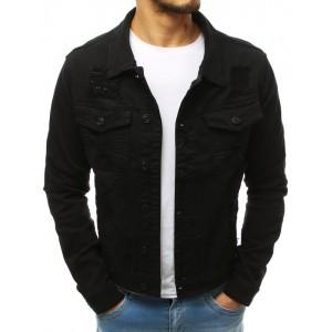 Pánská stylová riflová bunda v černé barvě