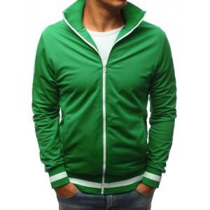 Sportovní pánská mikina na zip v zelené barvě