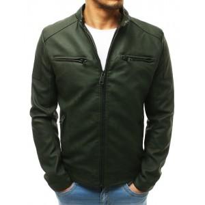 Kožená pánská bunda v zelené barvě s odnímatelnou kapucí