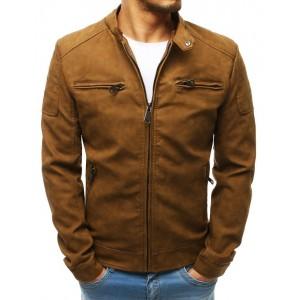 Kožená bunda v béžové barvě na zip