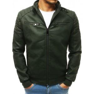 Pánská moderní kožená bunda v zelené barvě s kapucí