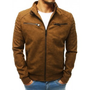 Pánská hnědá kožená bunda s odnímatelnou kapucí