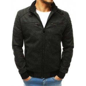 Moderní kožená bunda s odepínatelnou kapucí v černé barvě