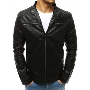 Pánská kožená bunda v černé barvě bez kapuce