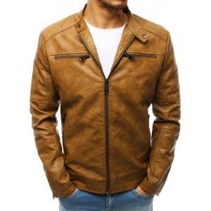 Hnědá kožená bunda se zapínáním na zip