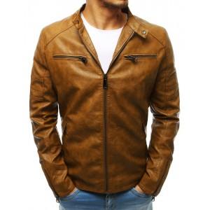 Kožená pánská bunda v hnědé barvě bez kapuce
