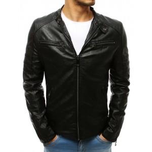 Stylová kožená bunda na jaře v černé barvě