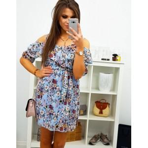 Dámské letní šaty v modré barvě s motivem květů