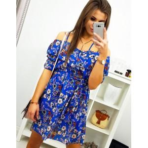 Květované dámské letní šaty v modré barvě