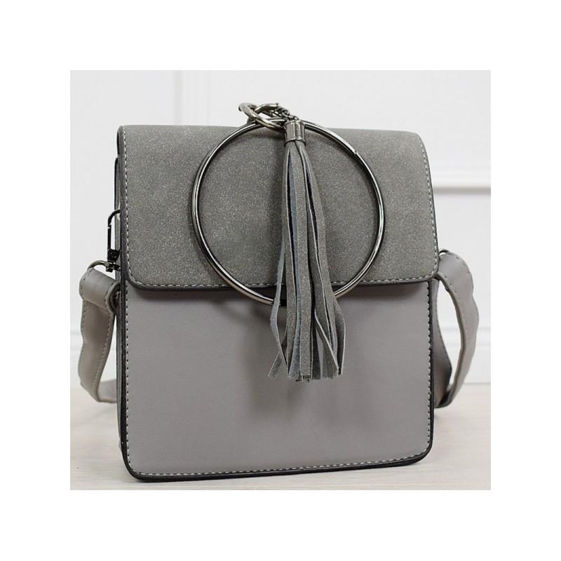 1b968032b9 Dámská šedá malá kabelka na rameno s ozdobným kruhem a třásněmi
