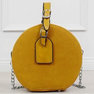 Trendy dámská žlutá crossbody kabelky v módních kulatého tvaru