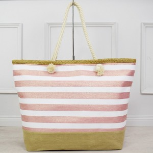 Světle růžová dámská letní taška s leskem na koupaliště