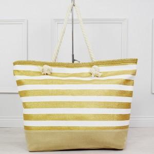 Stylová bílo zlatá pruhovaná dámská kabelka na koupaliště