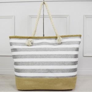 Bílo stříbrná dámská taška pruhovaná na pláž s vnitřní kapsou