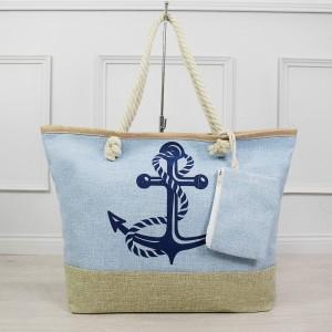 Světle modrá dámská plážová kabelka s vnějším ozdobným kapsou