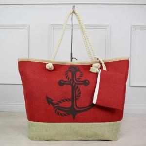 Letní dámská plážová červená taška na pláž s potiskem kotvy