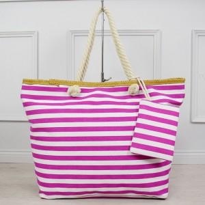Stylová dámská plážová taška fuchsiové barvy s kapsičkou